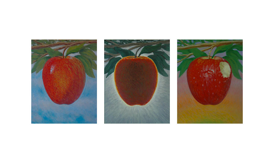 Apples Triptych Painting  - Apples Triptych Fine Art Print