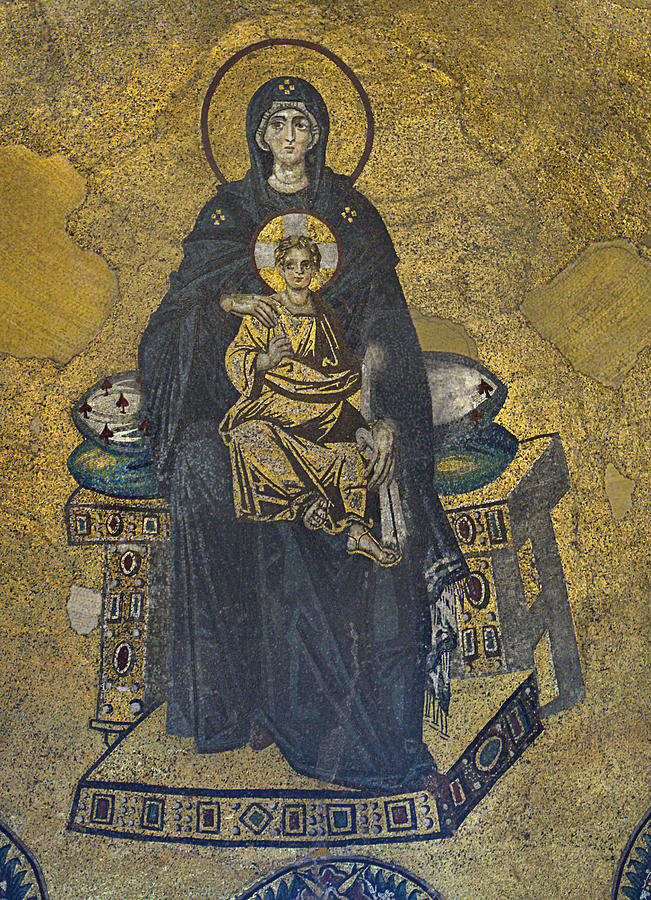 Apse Mosaic Hagia Sophia Virgin And Child Photograph