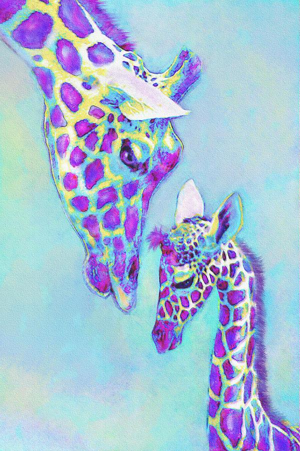 Aqua And Purple Loving Giraffes Digital Art By Jane Schnetlage