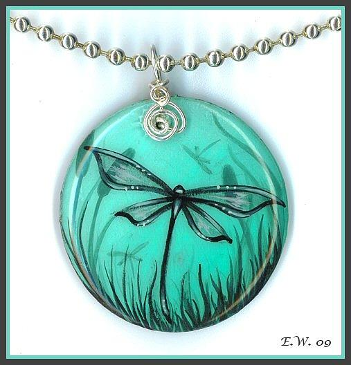Dragonfly Painting Painting - Aqua Dragonfly Pendant by Elaina  Wagner