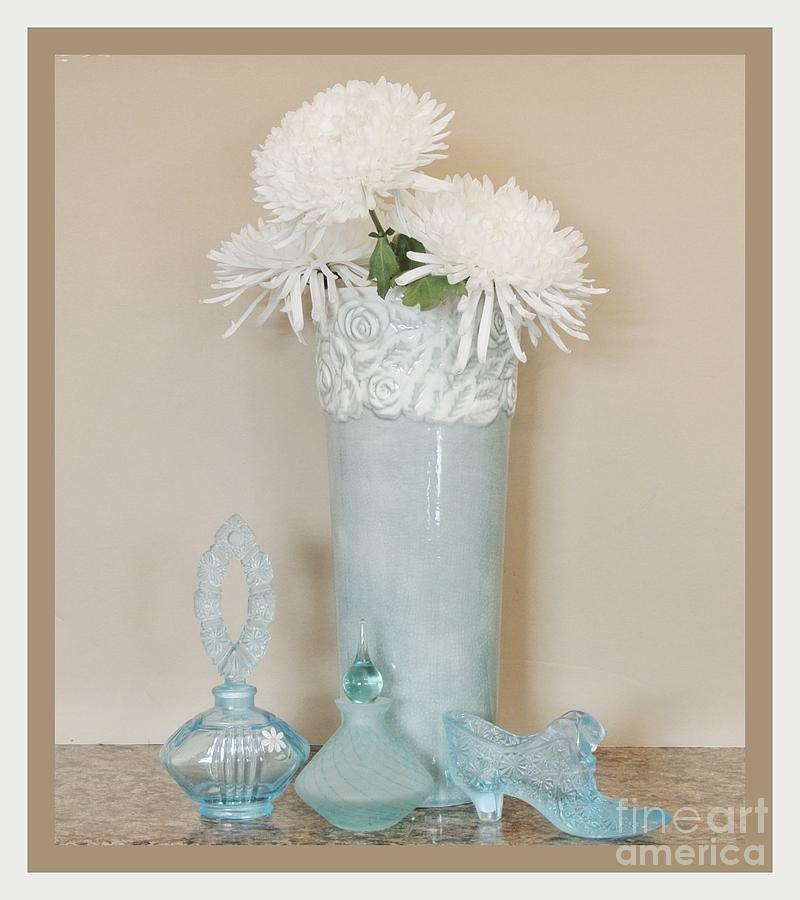 Aqua Floral Still Life Photograph