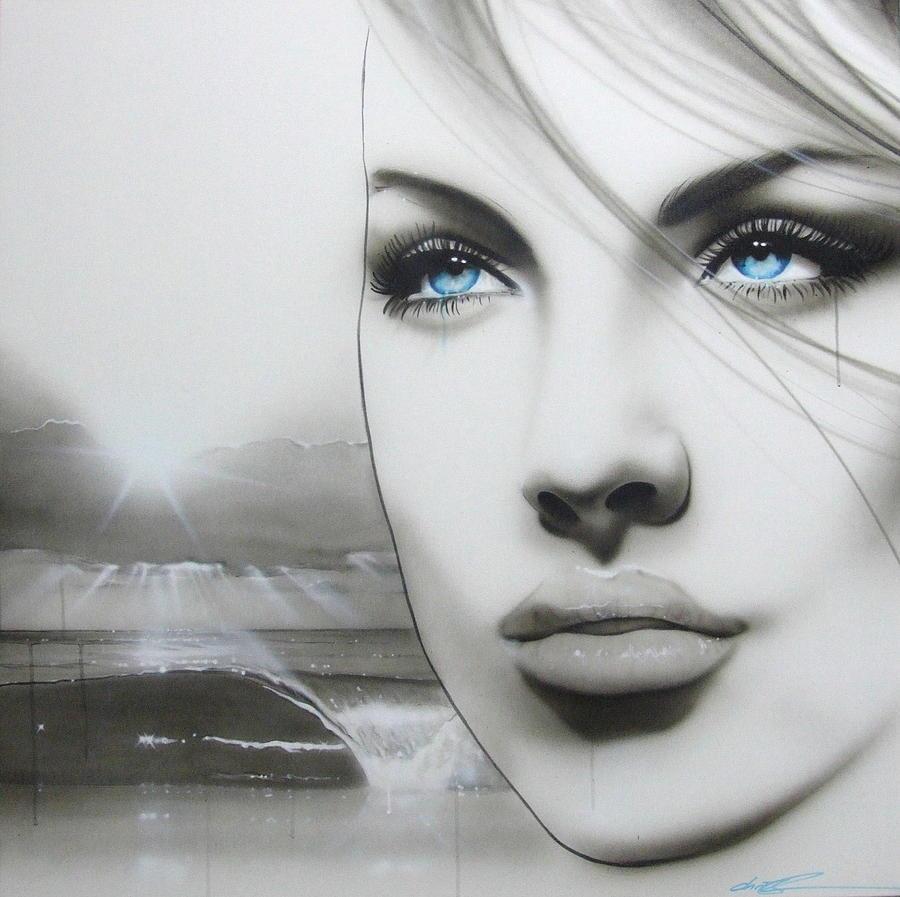 Women Paintings Painting - aqua Marine by Christian Chapman Art