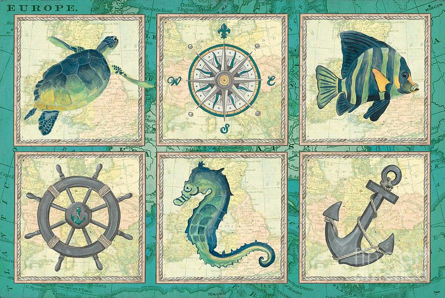 Coastal Painting - Aqua Maritime Patch by Debbie DeWitt
