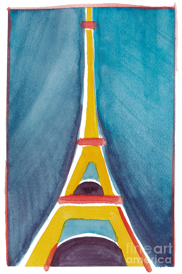 Aqua Yellow Eiffel Tower Painting  - Aqua Yellow Eiffel Tower Fine Art Print