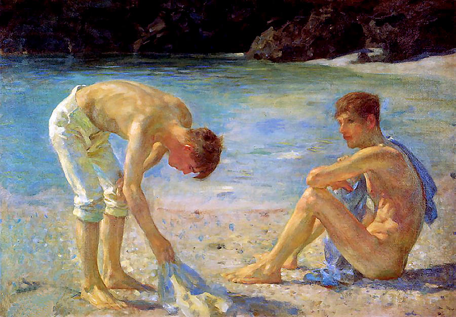 Aquamarine Painting By Henry Scott Tuke