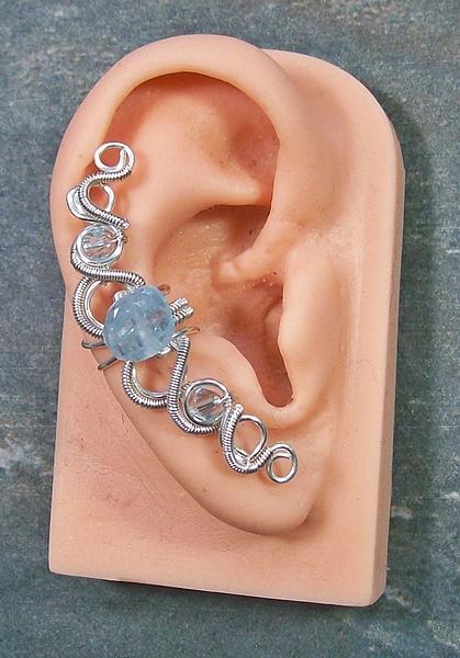 Aquamarine Swarovski Crystal And Silver Coiled Helix Ear Cuff Jewelry