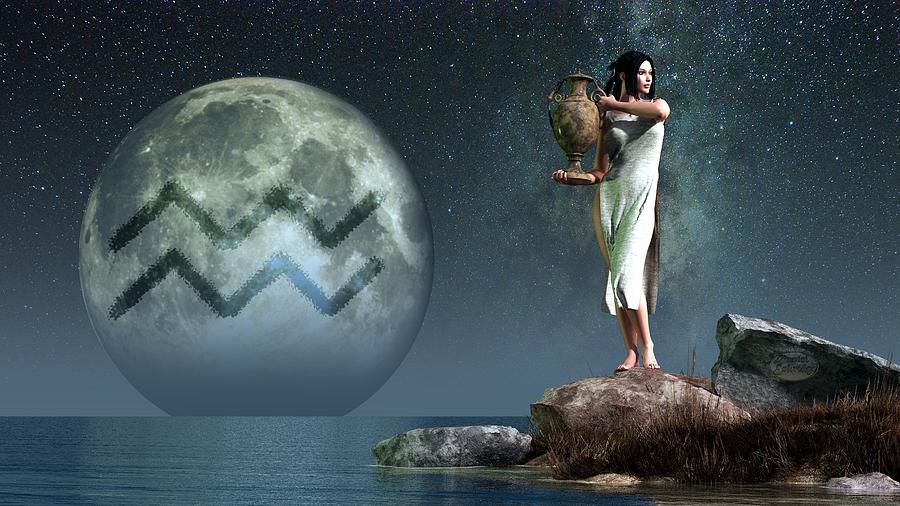 Aquarius Zodiac Symbol Digital Art