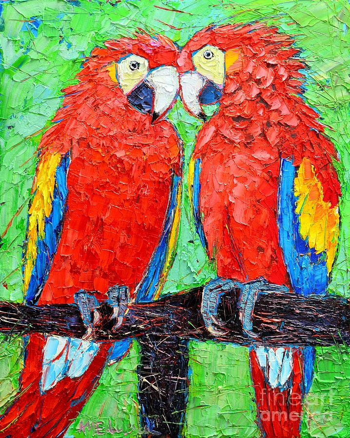 Ara Love A Moment Of Tenderness Between Two Scarlet Macaw Parrots Painting  - Ara Love A Moment Of Tenderness Between Two Scarlet Macaw Parrots Fine Art Print
