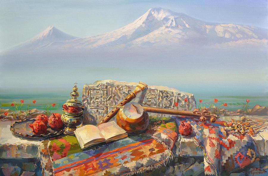 Ararat With Kamancha And Duduk. Painting by Meruzhan ...