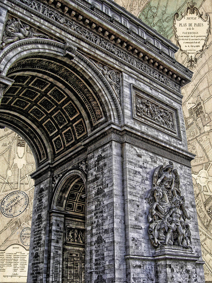 Arc De Triomphe - French Map Of Paris Photograph