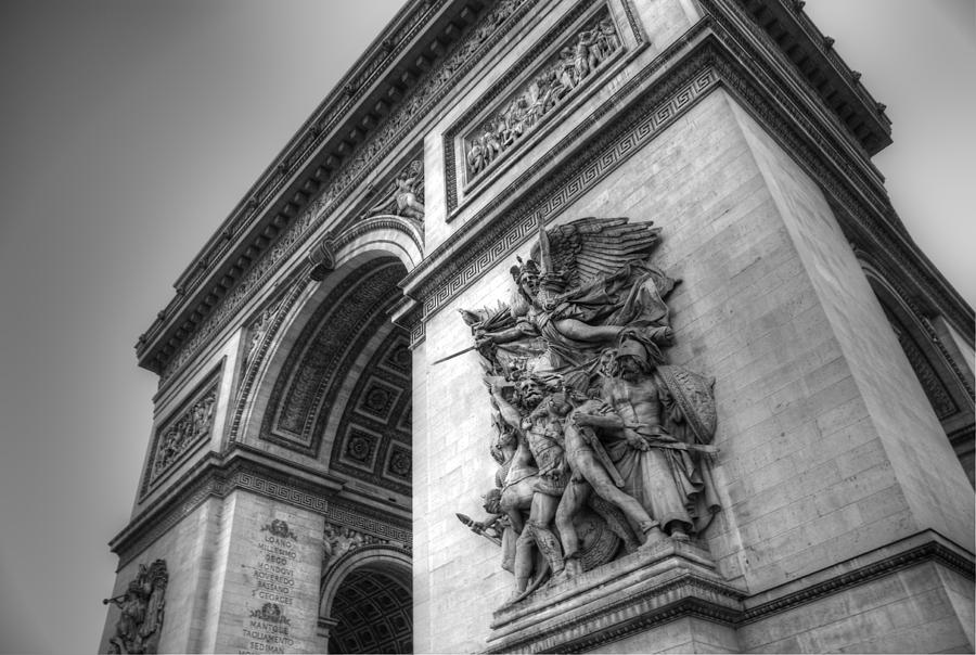 Arc De Triomphe In Black And White Photograph