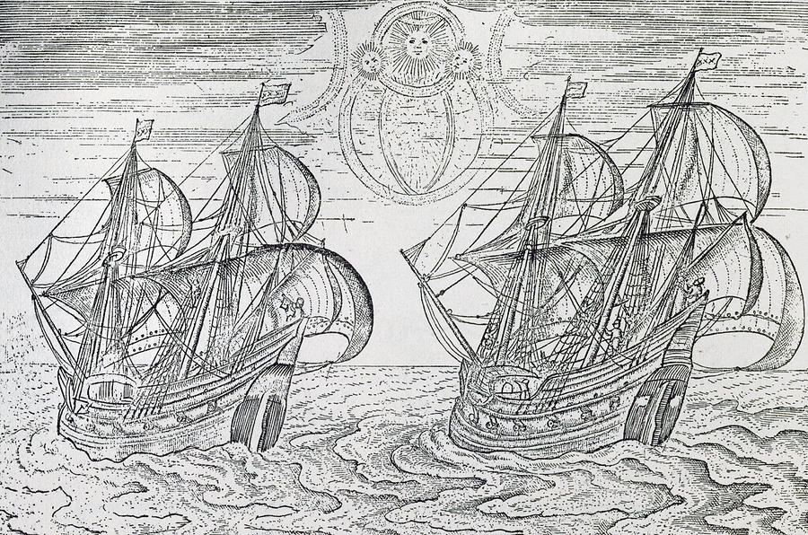 Arctic Phenomena From Gerrit De Veer S Description Of His Voyages Amsterdam 1600 Drawing  - Arctic Phenomena From Gerrit De Veer S Description Of His Voyages Amsterdam 1600 Fine Art Print