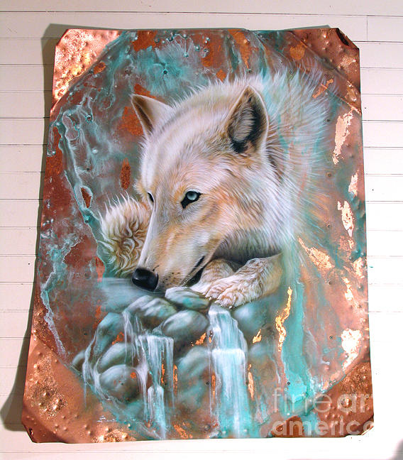 Arctic Wolf - Copper Painting