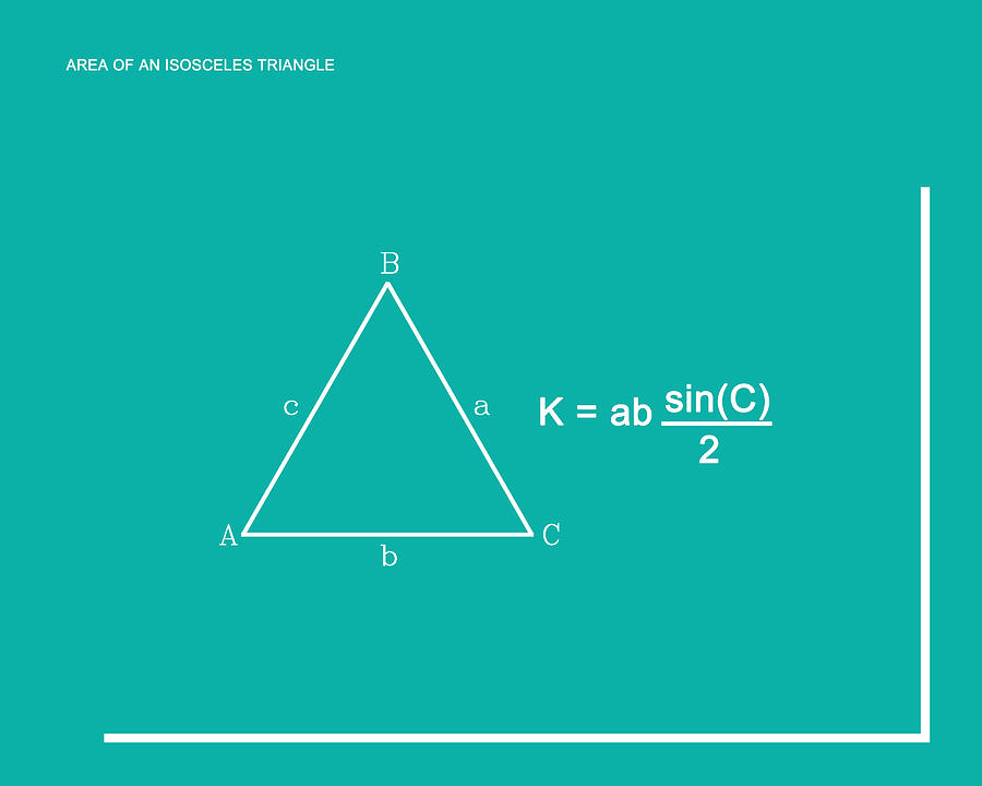 Area Of An Isosceles Triangle Teal White Digital Art By