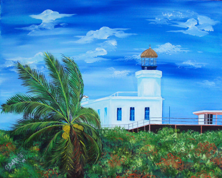 Arecibo Lighthouse Puerto Rico Painting  - Arecibo Lighthouse Puerto Rico Fine Art Print