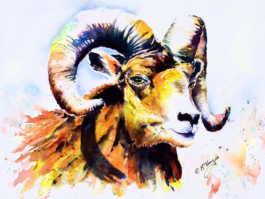 Aries - The Ram Painting by Carrie McKenzie