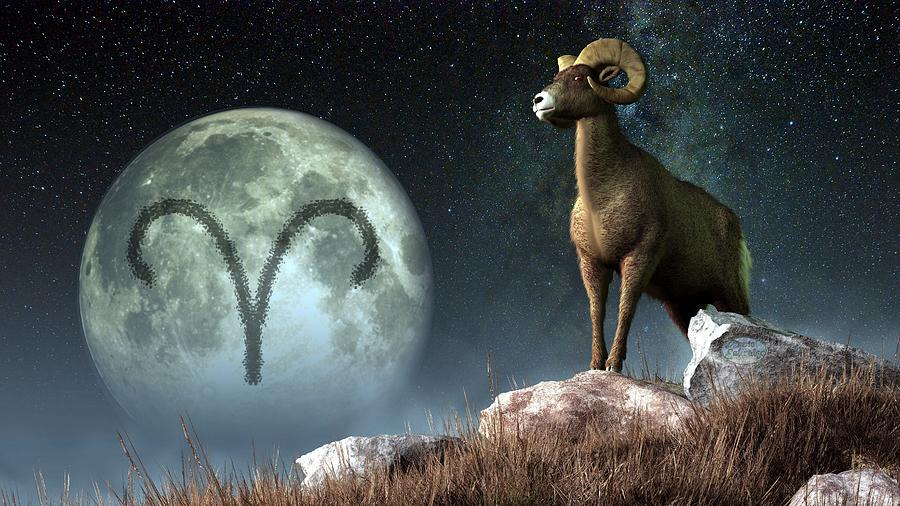 Aries Zodiac Symbol Digital Art  - Aries Zodiac Symbol Fine Art Print