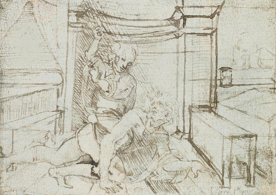 Aristotle And Phyllis Drawing by Leonardo Da Vinci