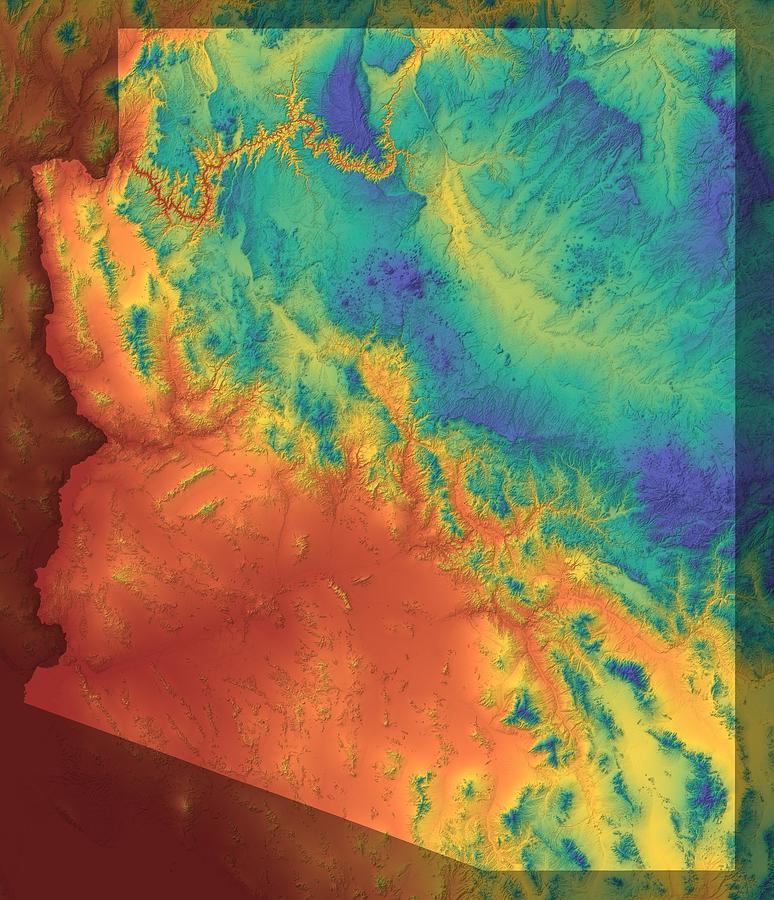 Arizona Digital Art - Arizona Map Art by Paul Hein