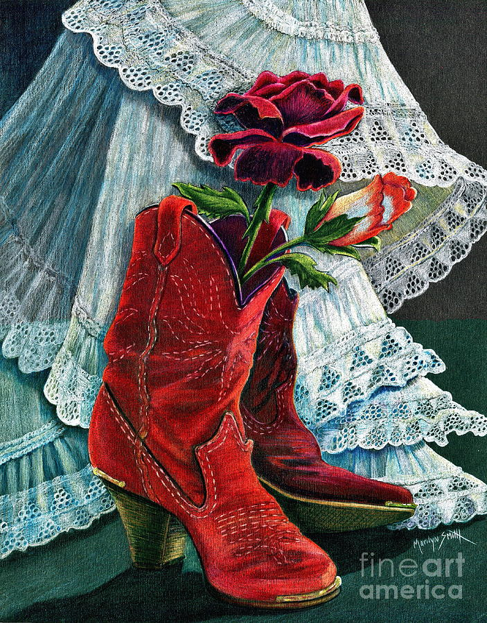 Red Boots Drawing - Arizona Rose by Marilyn Smith