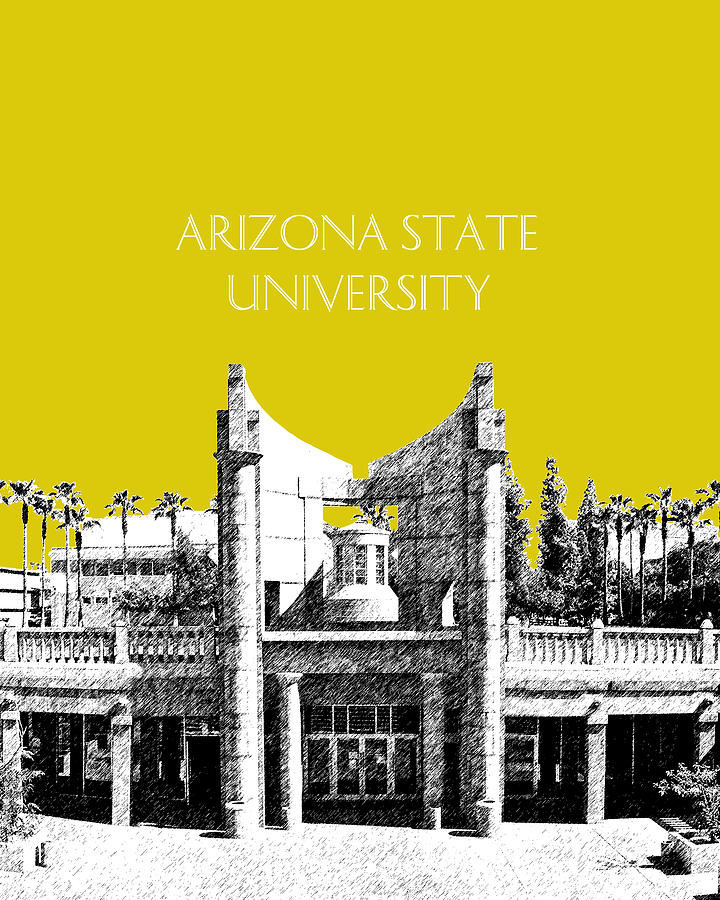 Arizona State University 2 - Hayden Library - Mustard Yellow Digital Art