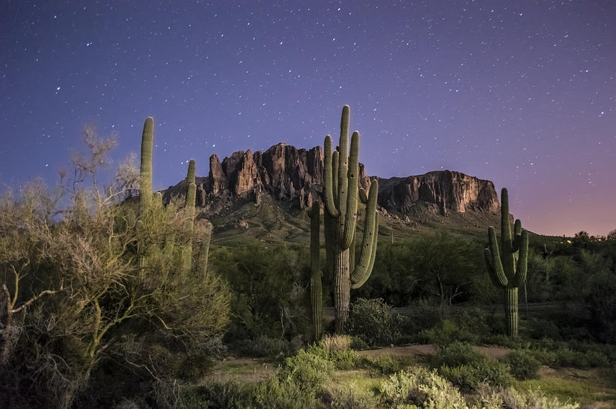 Arizona Superstition Mountains Night Photograph  - Arizona Superstition Mountains Night Fine Art Print