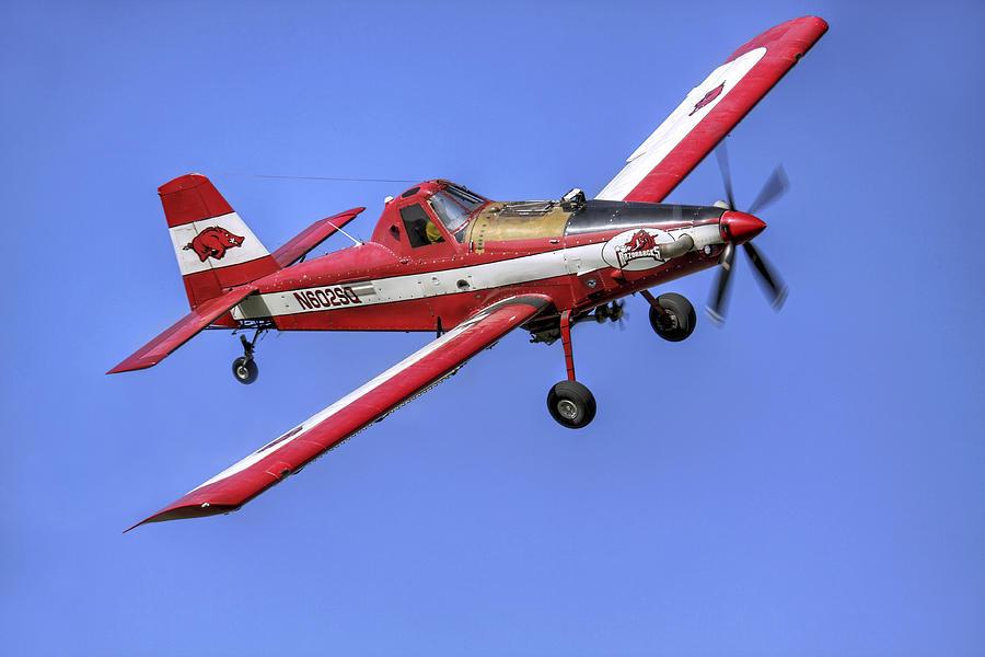 Crop Photograph - Arkansas Razorbacks Air Tractor by Jason Politte