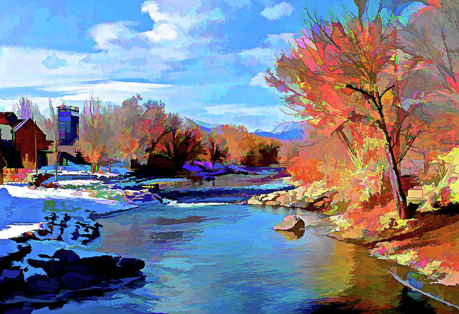 Arkansas River In Salida Co Digital Art  - Arkansas River In Salida Co Fine Art Print