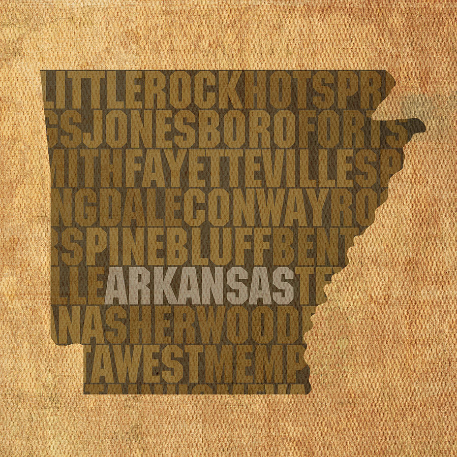 Arkansas Word Art State Map On Canvas Mixed Media