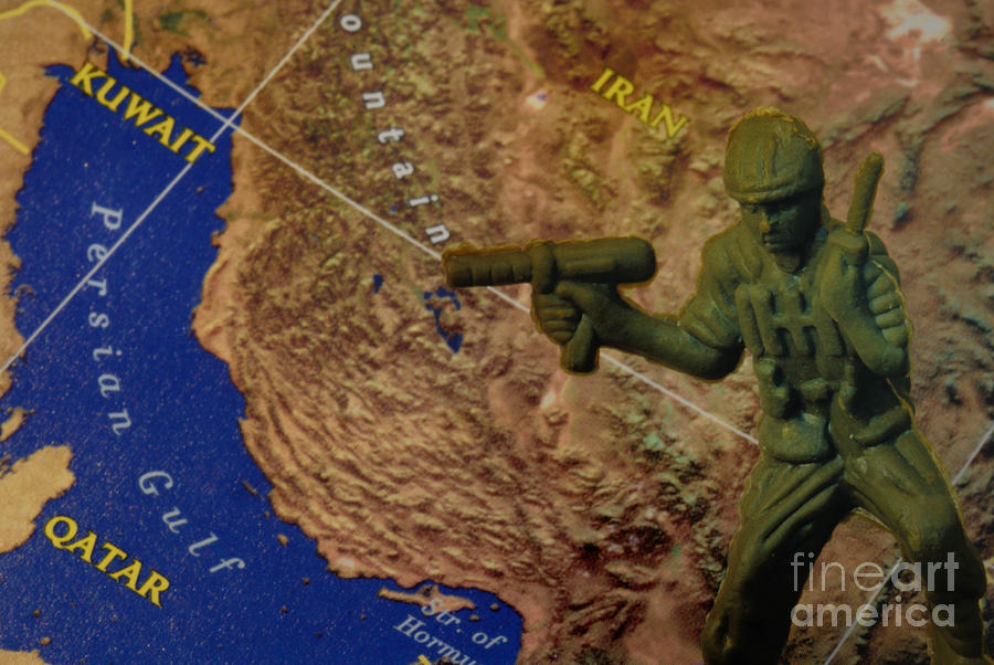 Armed Toy Solider With Middle East Map Photograph  - Armed Toy Solider With Middle East Map Fine Art Print