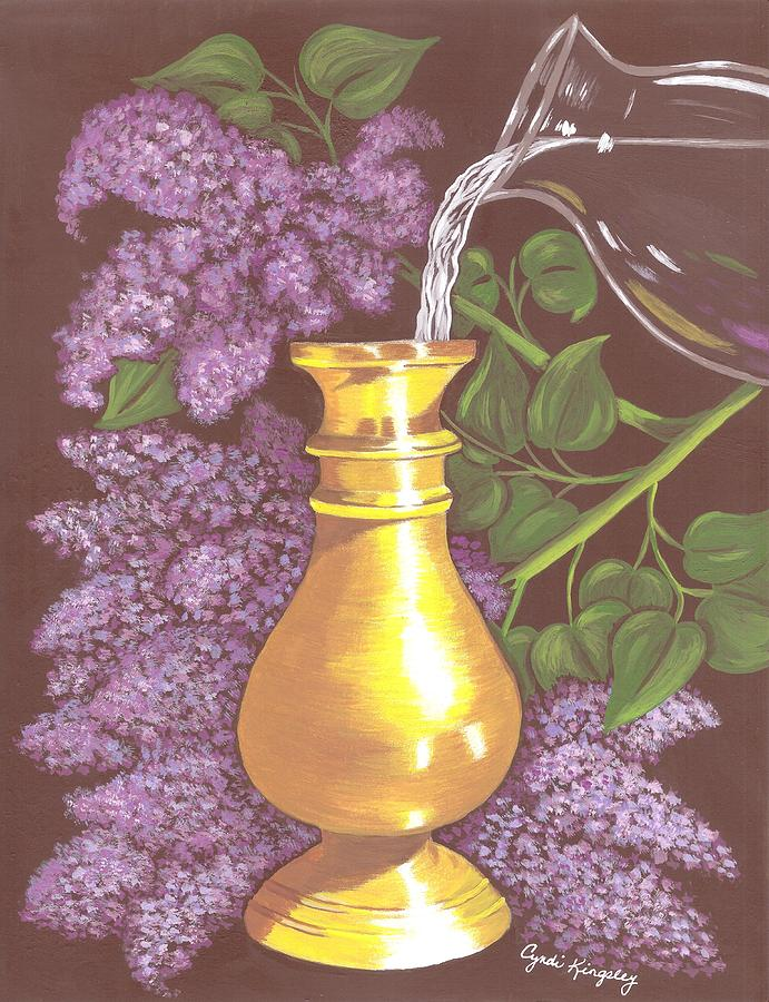 Arranging The Lilacs Painting