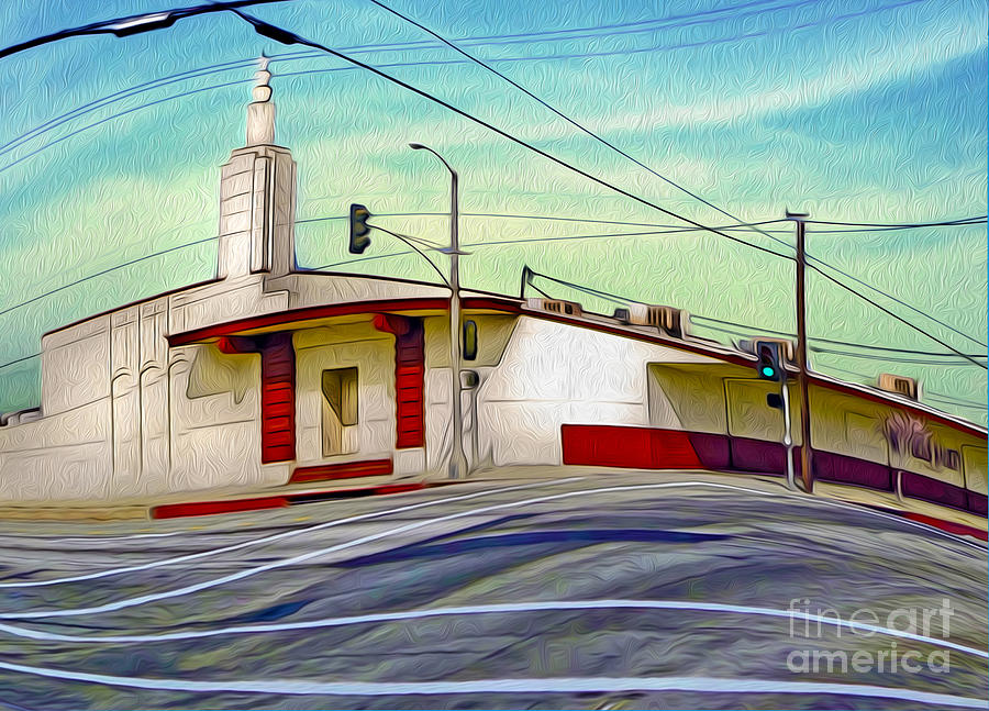 Art Deco Building - Pomona Ca Painting  - Art Deco Building - Pomona Ca Fine Art Print