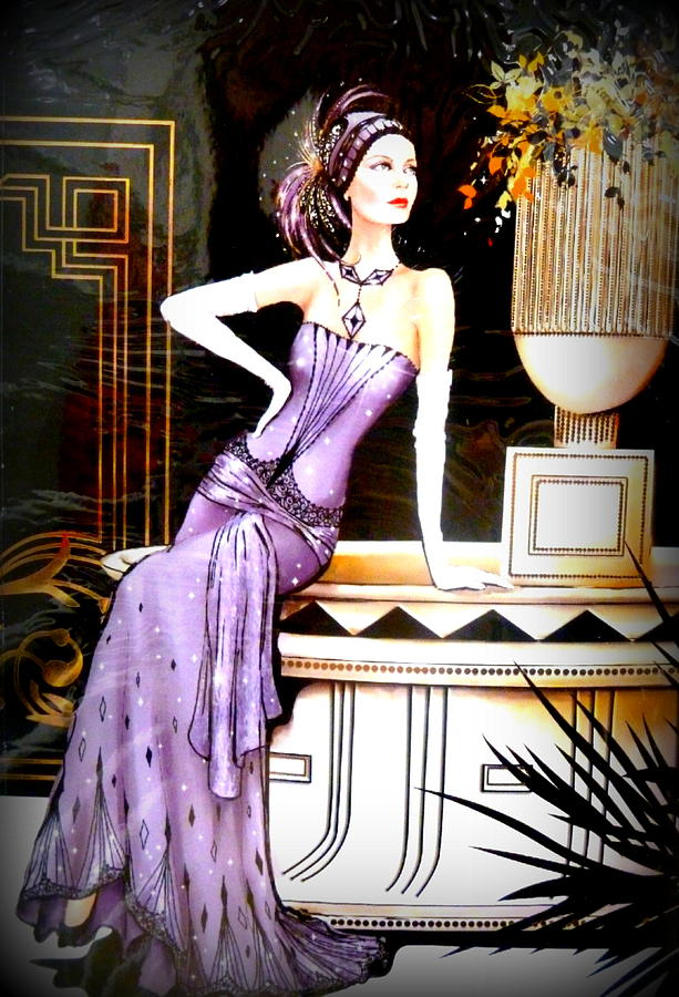 Art Deco Lady In Purple Photograph