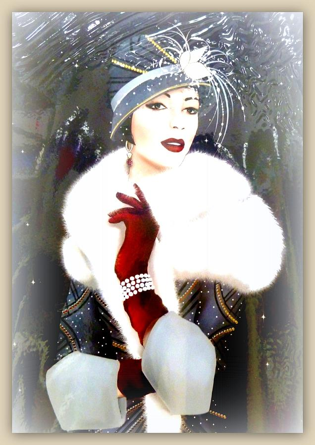 Art Deco Lady With Hat And Fur Photograph