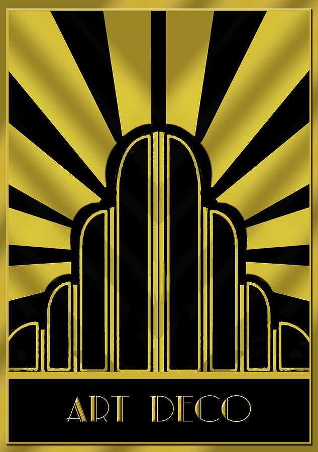 Art deco poster title digital art by chuck staley for Posters art prints