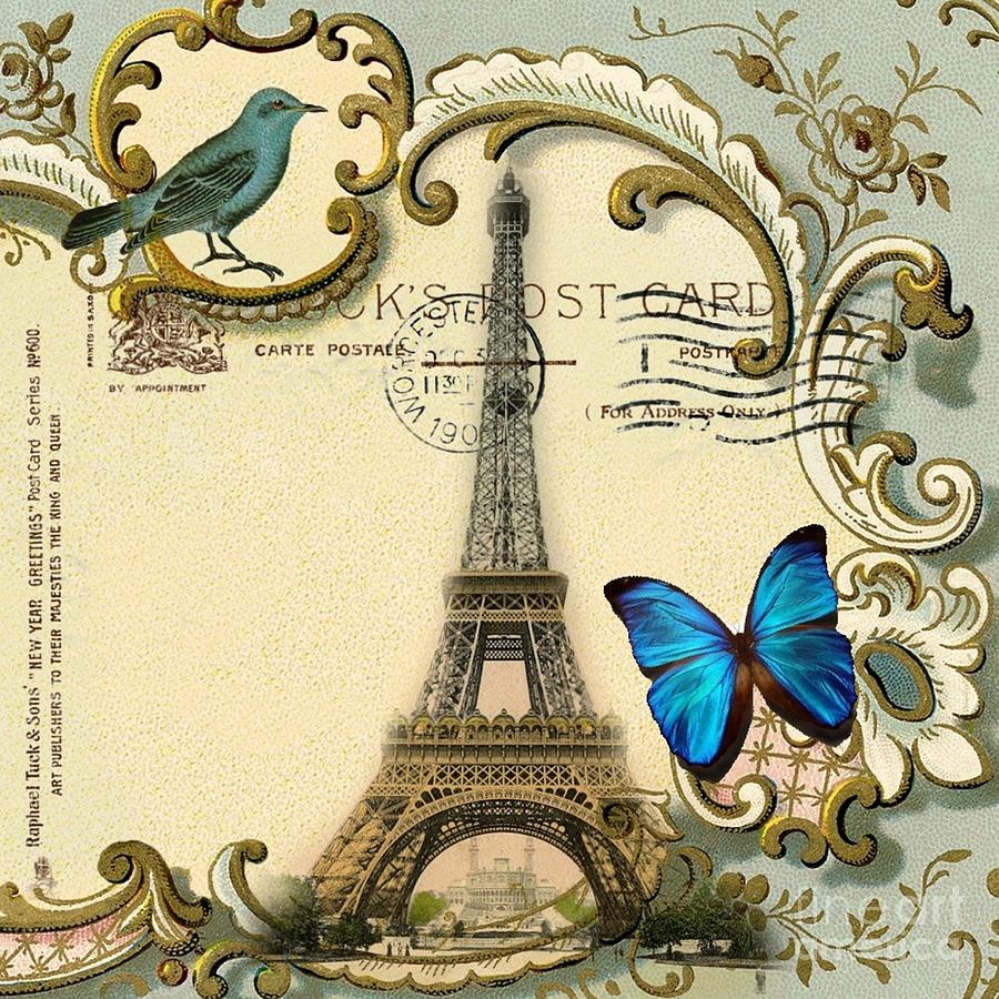 Art deco swirls butterfly eiffel tower paris digital art for Deco in paris