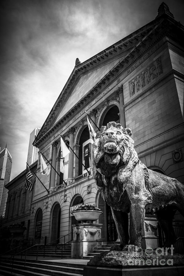 Art Institute Of Chicago Lion Statue In Black And White Photograph