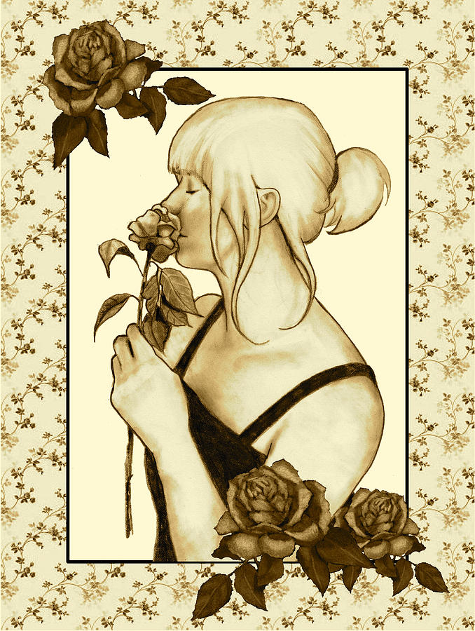 Art Nouveau Style Woman With Roses Drawing  - Art Nouveau Style Woman With Roses Fine Art Print