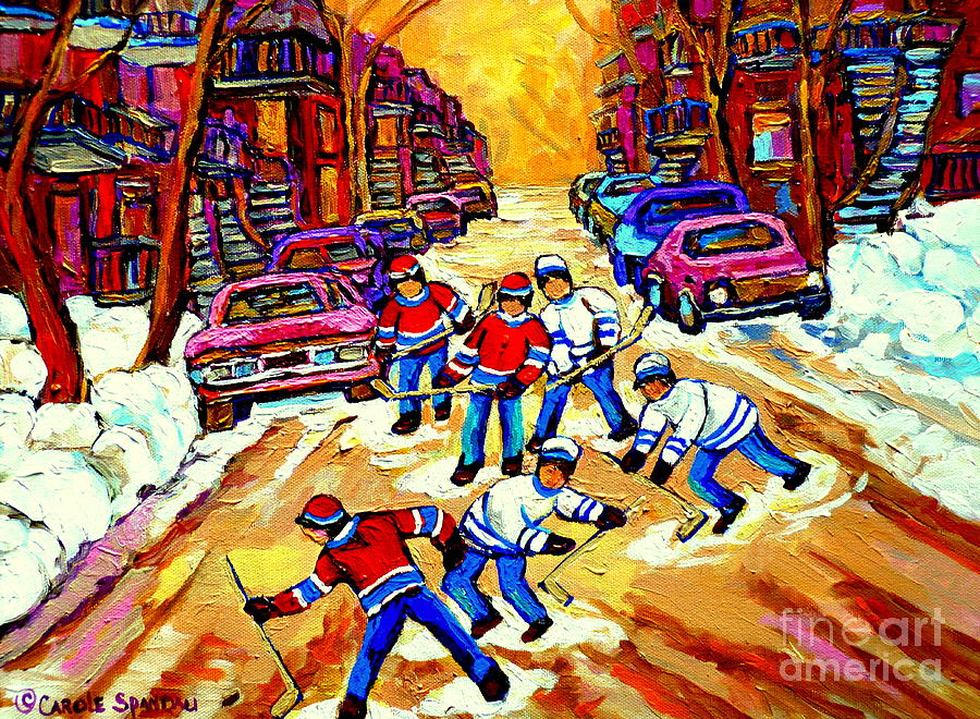 Art Of Montreal Hockey Street Scene After School Winter Game Painting By Carole Spandau Painting