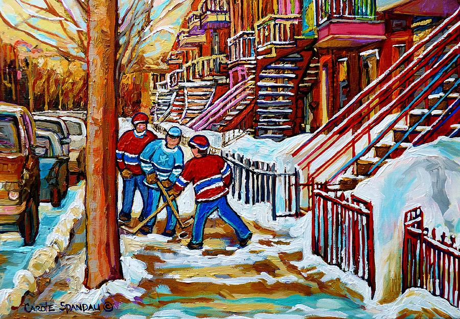Art Of Verdun Staircases Montreal Street Hockey Game City Scenes By Carole Spandau Painting