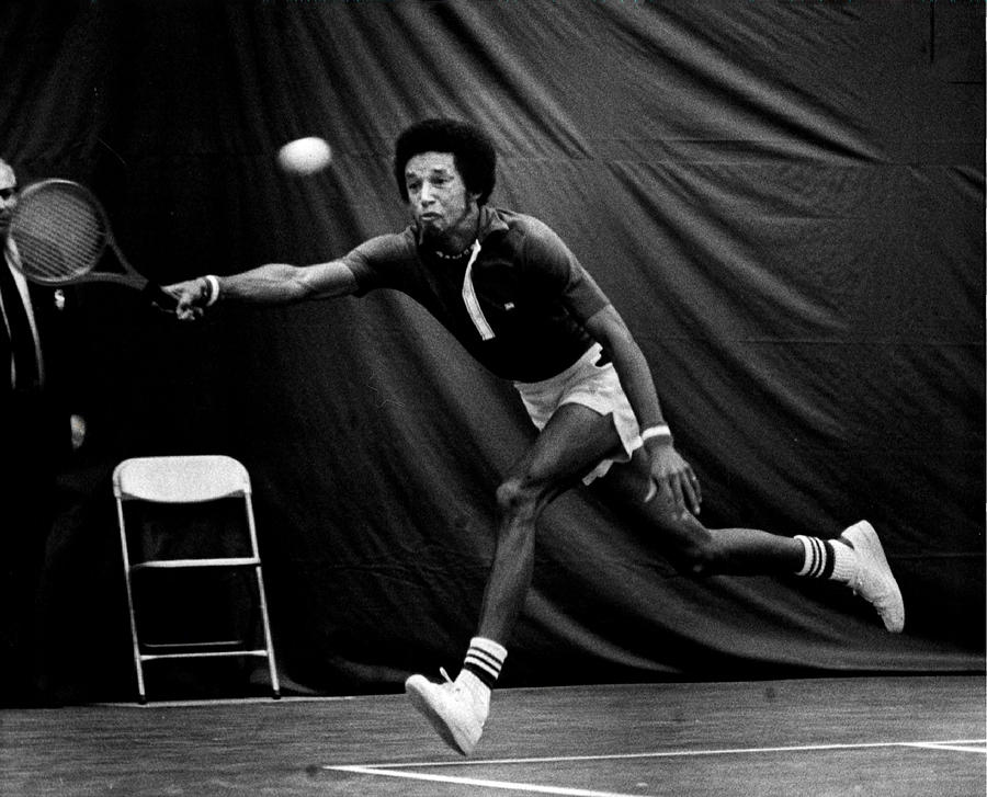 Retro Images Archive Photograph - Arthur Ashe Returning Tennis Ball by Retro Images Archive