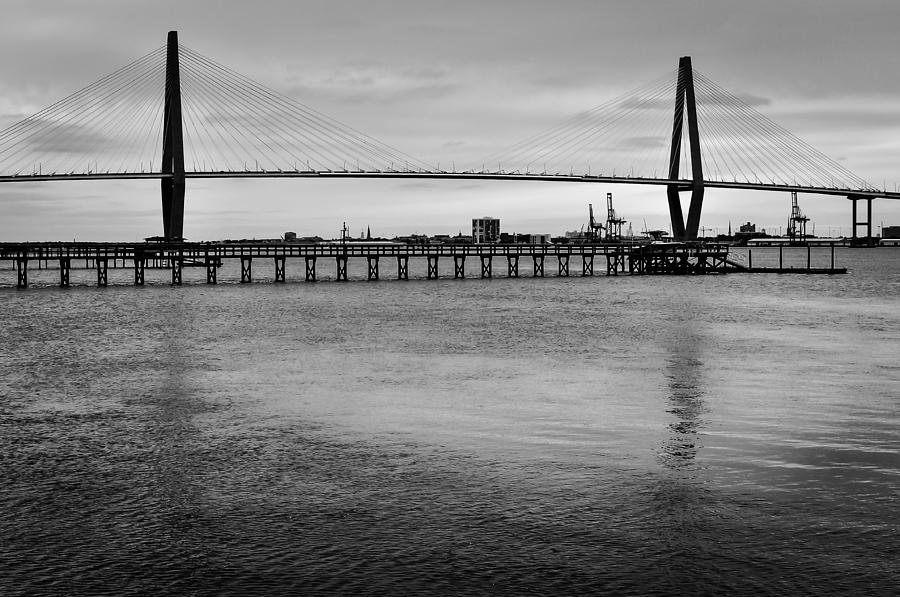 Arthur Ravenel Bridge In Black And White Photograph  - Arthur Ravenel Bridge In Black And White Fine Art Print