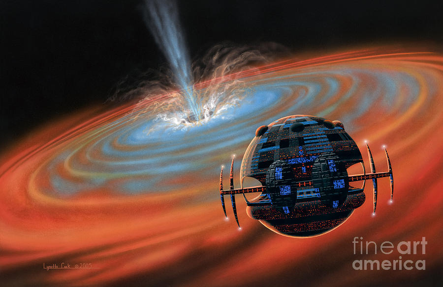 Artificial Planet Orbiting A Black Hole Painting  - Artificial Planet Orbiting A Black Hole Fine Art Print