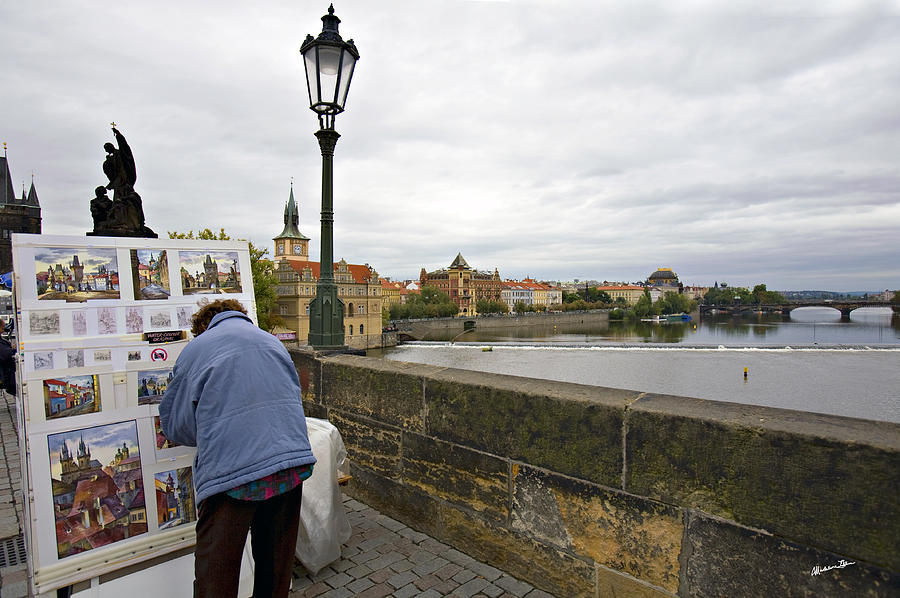 Charles Bridge Photograph - Artist On The Charles Bridge - Prague by Madeline Ellis