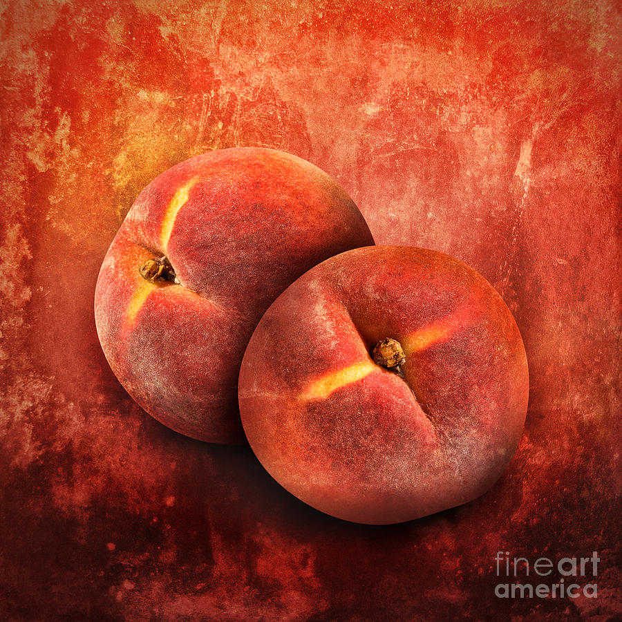 Artistic Peach Fruit On Orange Texture Photograph  - Artistic Peach Fruit On Orange Texture Fine Art Print