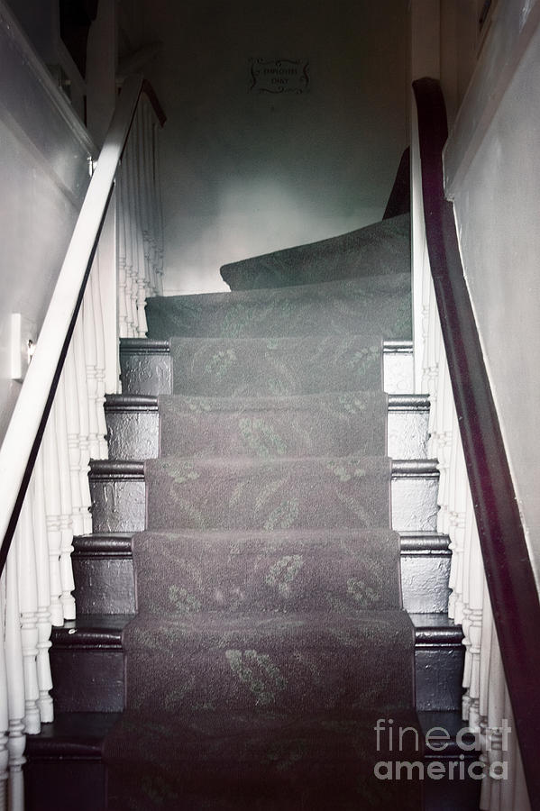 Stairs; Staircase; Up; Down; View; Steps; Wood; Wooden; Details; Railing; Rail; House; Home; Inside; Indoors; Banister; Painted; Carpet; Runner; Dark; Darkness Photograph - Ascend by Margie Hurwich