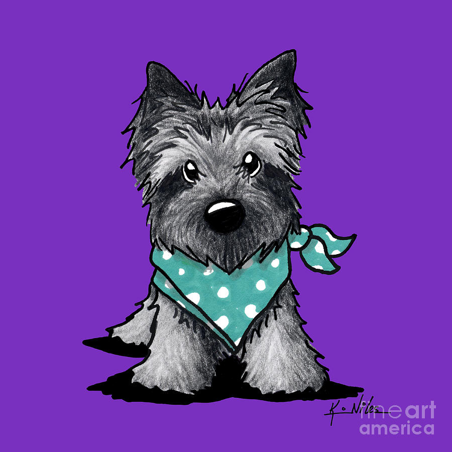 Ash Cairn Terrier In Dots Drawing  - Ash Cairn Terrier In Dots Fine Art Print