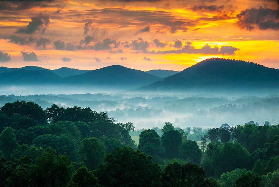 Asheville Nc Photograph - Asheville Nc Blue Ridge Mountains Sunset - Welcome To Asheville by Dave Allen