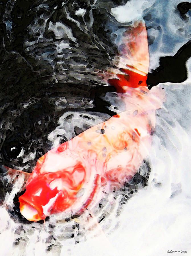 asian koi fish black white and red painting by sharon