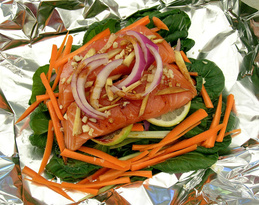 Asian Salmon Cooked In Foil Photograph